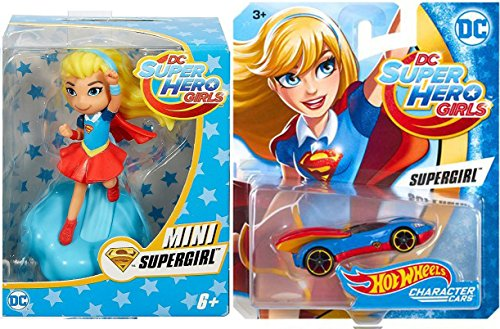 [Hot Wheels DC Comics Super Hero Girls Character Car - Supergirl + DC Comics - Super Hero Girls Mini Supergirl] (Super Villain Poison Ivy Costume)