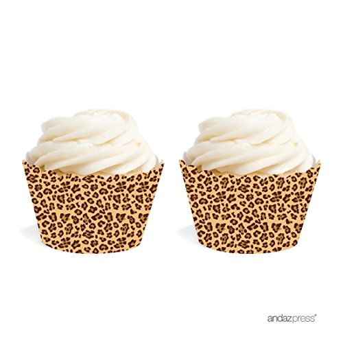 Andaz Press Birthday Cupcake Wrappers, Leopard Cheetah Print, 20-Pack, Decor Decorations Wraps Cupcake Muffin Paper Holders ()