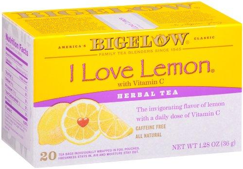 Bigelow I Love Lemon Herbal Tea, 20-Count Boxes (Pack of 6)