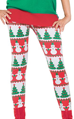 Decorated Snowman (Forum Novelties Women's Snowman and Christmas Tree Adult Leggings, Multi, One Size)