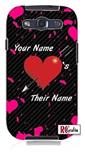 Personalized His Her Name Valentine's Day Custom Unique Quality Rubber Soft TPU Case for Samsung Galaxy S3 SIII i9300 (WHITE)