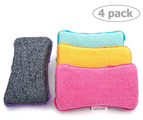 (Microfiber Scrubber Sponge - Non-Scratch Kitchen Scrubbies, Dishwashing and Bathroom Sponges, Pack of 4, Size 6x3x1.6 Inch by UPSTAR)
