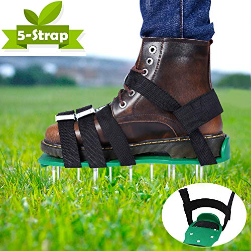 Ohuhu Lawn Aerator Shoes, Free-Installation Heavy Duty Spiked Sandals, 4 x Adjustable Aluminium Alloy Buckles & 1 x Heal Elastic Band Unique Design Airators for Aerating Your Lawn Or Yard