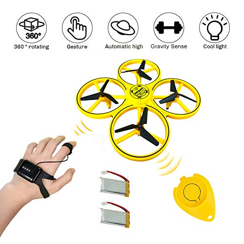 RC Smart Watch Sense Drone Gesture Control Quadcopter Gravity Sense Interactive Hand-Controlled Mini UFO for Kids Altitude Hold 360° Rotating LED Lighting Obstacle Avoidance Helicopter for Adults.
