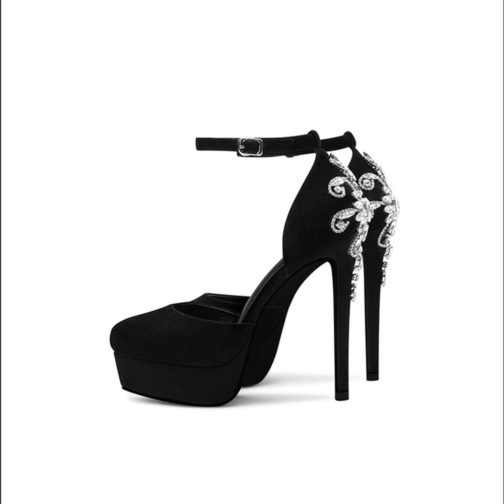 XUERUI Hueco Helado con un Solo Zapato Femenino Cabeza Redonda Rhinestone Plataforma Impermeable Tacones Altos Zapatos de Tacón (Tamaño : EU36/UK3.5/CN35) EU36/UK3.5/CN35