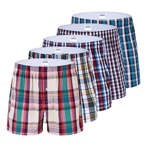 (Men's Plaid Woven Boxer Underwear 5/3 Pack 100% Cotton Premium Classic Tartan Shorts)