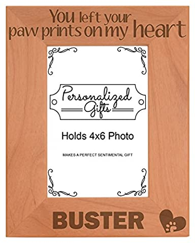 Personalized Cat Memorial Picture Frame You Left Your Pawprints On My Heart Custom Cat Gift Natural Wood Engraved 4x6 Portrait Picture Frame - Picture Paw Print