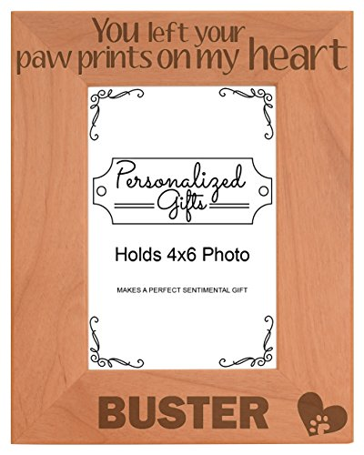 - Personalized Cat Memorial Picture Frame You Left Your Pawprints On My Heart Custom Cat Gift Natural Wood Engraved 4x6 Portrait Picture Frame Wood