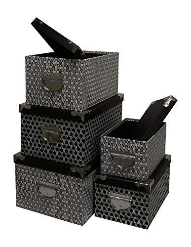 Kraft King Decorative Storage Boxes - Nested, Metal Reinforced Corners, Set of 5 Assorted Sizes (Black & White Hexagon Pattern)