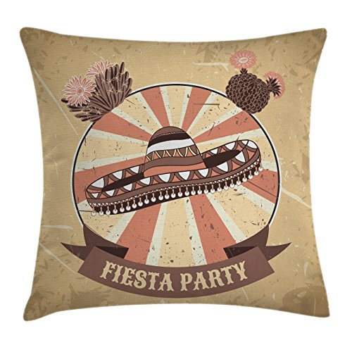 Ambesonne Vintage Throw Pillow Cushion Cover, Vector Illustration Poster of Mexican Fiesta Party with Sombrero and Cactuses, Decorative Square Accent Pillow Case, 16 X 16 Inches, Umber Sand Brown