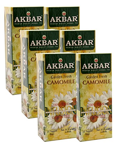Akbar | Pure Chamomile Flowers | Gourmet 25 Count String & Tag Teabags | Premium Grade | Non GMO Tea | Garden Fresh | (6 Pack)