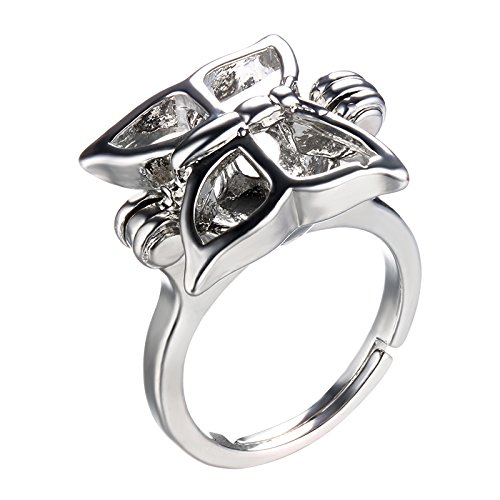 (HENGSHENG Butterfly Shape Adjustable Ring Mounting Hollow Locket Pearl Cage Ring Setting (Silver))