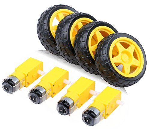 4PCs DC Electric Motor 3-6V Dual Shaft Geared TT Magnetic Gearbox Engine with 4Pcs Plastic Toy Car Tire Wheel, Mini Φ67mm Smart RC Car Robot Tyres Model Gear Parts, Yeeco -