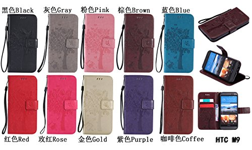 PU Coque One HTC M9, Multifonction Case Wallet Cover Etui en cuir Étui de protection flip Wallet stand Cover avec des fentes de cartes pour HTC One M9 +Bouchons de poussière (4TT) 4