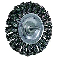 "Weiler Standard Wire Wheel Brush, Round Shank, Steel, Partial Twist Knotted, 3-1/4"" Diameter, 0.020"" Wire Diameter, 1/4"" Shank, 5/8"" Bristle Length, 3/8"" Brush Face Width, 25000 rpm"