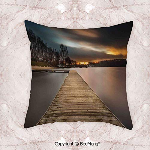 (BeeMeng Square Throw Pillow Waist Cushion,Landscape,Lake Landscape with Jetty Cloudy and Dramatic Sky Scene at Sunset Image,Brown Bronze Black,17.7x17.7 Inch,Soft and Comfortable Healthy Kids Room)