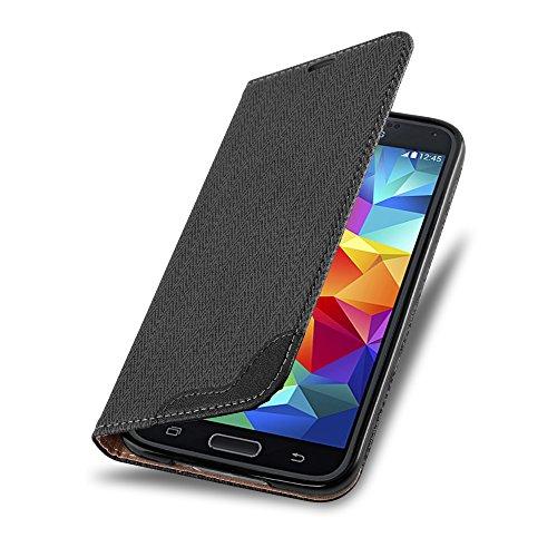 Cadorabo - Funda Book Style en Diseño Rafia para Samsung Galaxy S5 - Etui Case Libro Cover Carcasa Caja Protección con Imán Invisible en NEGRO-ÉBANO NEGRO-ÉBANO