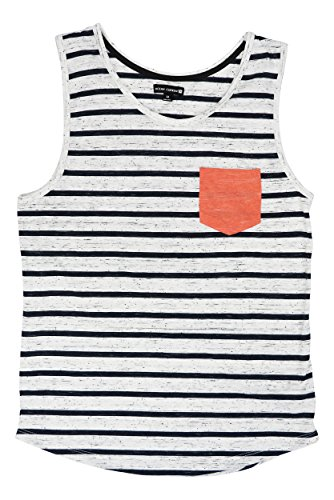Ocean Current Univibe Men's Rian Striped Chest Pocket Tank Top (Shell, Large) (Mens Pocket Tank Tops With)