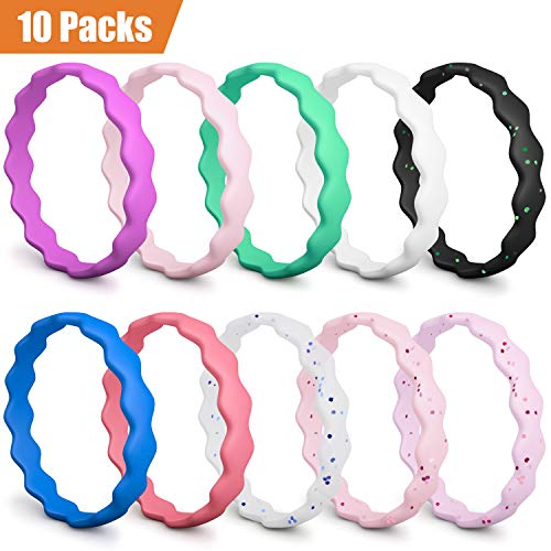 COOLOO Silicone Wedding Ring for Women, [10 Packs] Thin Stackable Silicone Wedding Bands, Rubber Wedding Ring Antibacterial Comfortable Durable Affordable Fashion Elegant, Skin Safe