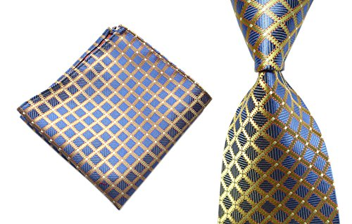 Diamond Patterned Silk Tie - Men's Silk Blue Yellow Ties Textile Business Diamond Plaids Neckties for Wedding