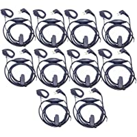 Lsgoodcare 10Pack 2Pin Ear-Clip Earpiece Headset PTT Mic for Motorola GP2000 GP88 P040 CLS1110 XTN500 Walkie Talkie CB Two Way Radio Yaesu Earpiece