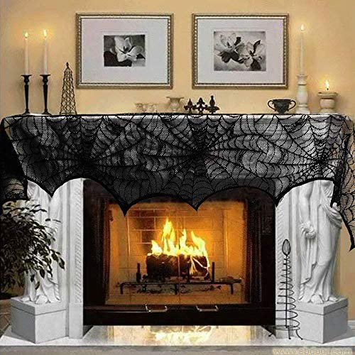 Halloween Mantel Scarf, Fntacetik Halloween Decoration Black Lace Spiderweb Fireplace Mantle Scarf Cover Party Supplies, 18 x 96 inch ()