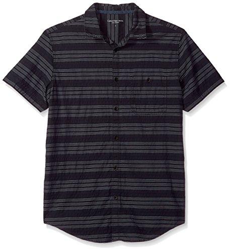 Calvin Klein Jeans Men's Short Sleeve Textured Stripe Button Down Shirt, Dark Navy, (Textured Stripe Shirt)
