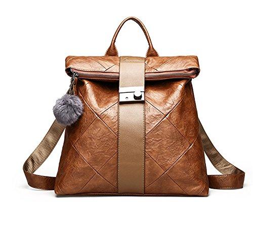 BAO Bolsos de mano bolsos de hombro bolso de mensajero aceite cera piel moda simple retro plaid colegio viento , black brown