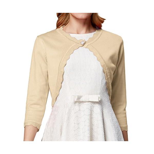 83c825e0ff GRACE KARIN Women s Classic 3 4 Sleeve Open Front Knit Cropped Bolero  Cardigan