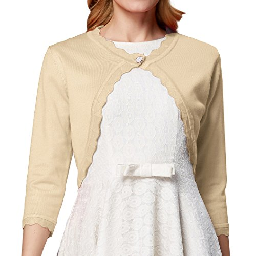Womens Classic Open Front Cropped Cardigan 3/4 Sleeve L CLAF1062-4 ()