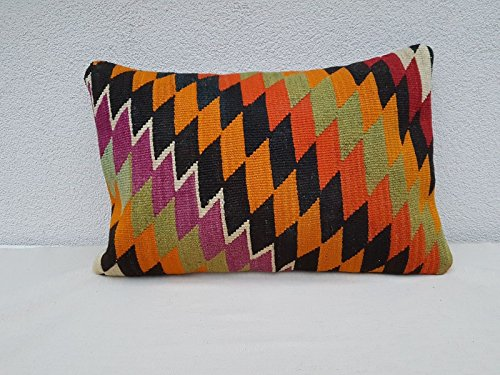 16x24'' Vintage Handwoven Diamond Pattern Orange Green Kilim Rug Pillow Cover