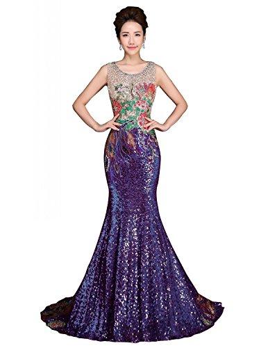 Le Perlant Sequin Des Femmes De Mariée De Annie Longues Robes De Bal Soirée Sirène Formelle Purple3