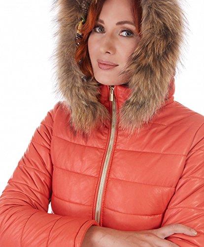 e2f51a091e931 ... Ladies • Avec Orange Fourrure Couleur Femme D arienzo Capuche Doudoune  Bordé PBp1wHZx ...