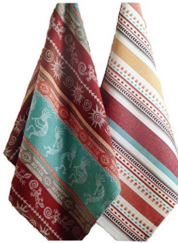 - Simply Southwest Striped Kitchen Towels, Set of 2 Colorfully Woven Jacquard Towels
