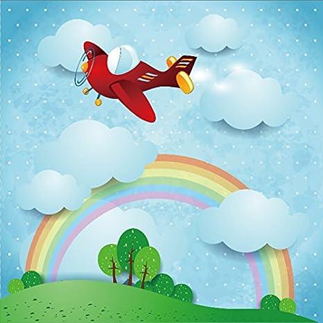 Amazon Com Ofila Cartoon Rainbow Backdrop 8x8ft Clouds Airplane