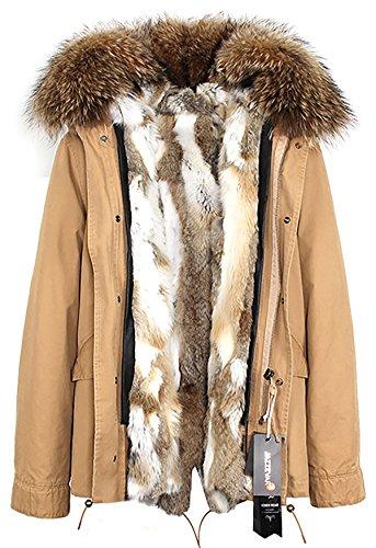(S.ROMZA Women Thick Real Rabbit Fur Parka Hooded Coat Winter Jacket Detachable Fur Trim (US8, Yellow&White))