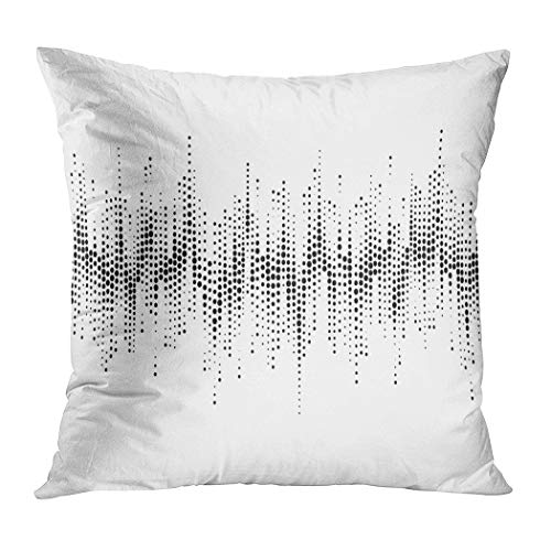Suklly Throw Pillow Cover Square 20x20 Inch Halftone Sound Wave Pattern Modern Music Cushion Home Sofa Decor Hidden Zipper Polyester Pillowcase