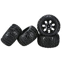 4Pcs Black Wheel Rim and Tire for 1/10 HSP Tamiya Kyosho Off-road RC Car Parts