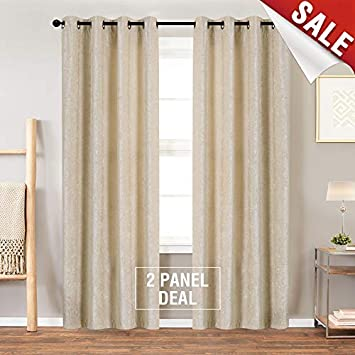 84L Beige Luxry Chenille Velvet Curtains, Drapes For Bedroom 84 Inch Long  Window Curtain Panels