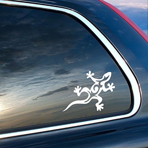 (Lizard Tribal Style Vinyl Sticker - WHITE - Car Bumper Window Sticker 4