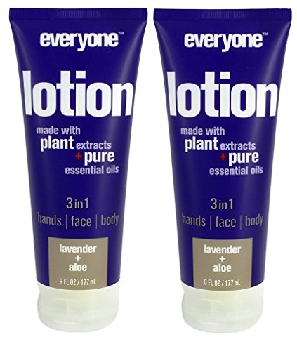 Everyone 3-in-1 Lavender and Aloe Lotion (Pack of 2) with Matricaria Flower Extract, Organic Aloe Barbadensis Leaf and Coconut Oil, 6 fl. oz.