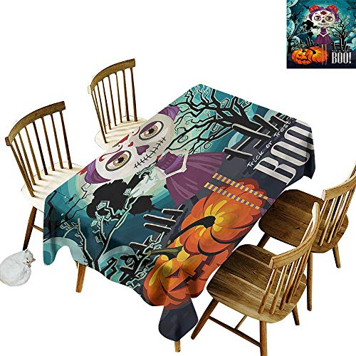 Custom Tablecloth Halloween Girl Sugar Skull Makeup Party Decorations Table Cover Cloth 60