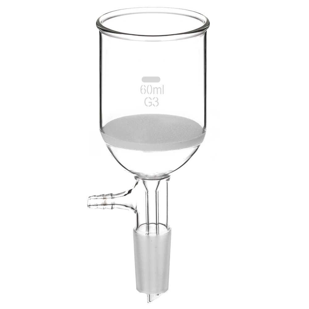 StonyLab Borosilicate Glass Buchner Filtering Funnel with Fine Frit, 85mm Disc Diameter, 80mm Depth, with 24/40 Standard Taper Inner Joint and Vacuum Serrated Tubulation (250 mL) StonyLab Scientific