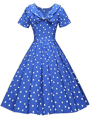Royal Style Hepburn GownTown Polka Audrey Dresses Vintage Dresses Blue Party Dot 1950s Women's xwn8gfnqSP