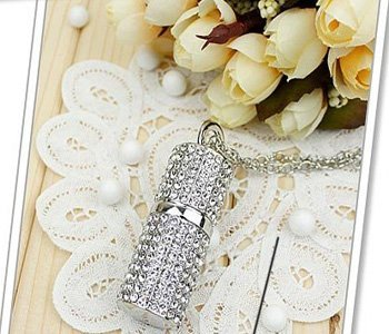 8gb Crystal Lipstick Case Jewelry USB Flash Memory Drive Necklace -