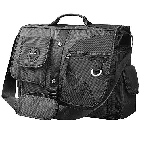 Large Messenger Bag, Linshi Tasks Tactical 17 inch Water Resistant Laptop Shoulder Bag Black