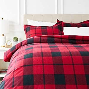 AmazonBasics Everyday Flannel Duvet Cover Set - King, Red Plaid