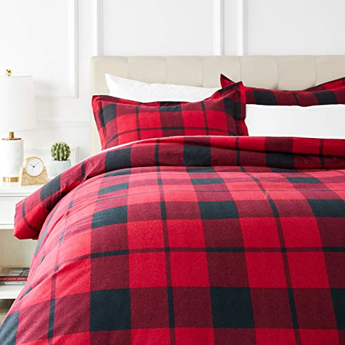 AmazonBasics Everyday Flannel Duvet Cover and 2 Pillow Sham Set - Full or Queen, Red Plaid (Christmas Cover Set Quilt)