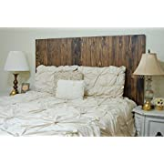 Dark Walnut Stain Finish - Full Size Hanger Handcrafted Headboard. Mounts on Wall. Easy Installation.