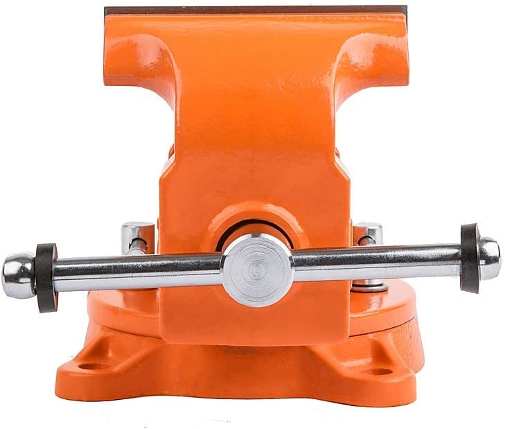 Forward 4-Inch Bench Vise Ductile Iron with Channel Steel and 360-Degree Swivel Base HY-30404-4In 4